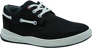 حذاء نوباك صناعي برباط وعراوي مختلفة اللون بخياطة من الجزء العلوي للرجال من زيرو 3 - اسود، 45