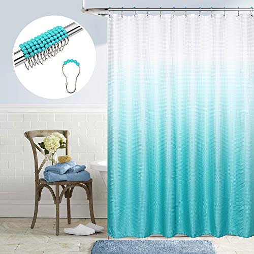 Teal Shower Curtain for Girls Coordinating Color Metal Beaded Hook Rings Set Texture Bath Cloth Fabric Design Ombre Pattern Beach Mermaid Shower Curtain for Women Teens Kids Bathroom Aqua Turquoise