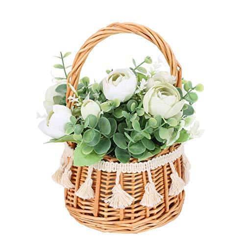 HUAESIN Ramo de Flores Artificiales Decorativas con Canasta, Rama de Eucalipto Artificial con Flores Rosas Blancas Pequeñas para Decoración Boda Interior Exterior Jardín Mesa Banquete Casa Hogar