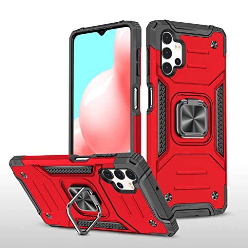 GOGME Funda para Samsung Galaxy A32 5G Delgado Rubber Caso, Estuche con 360 Anillo Soporte Coche Magnético Hard PC + Silicona TPU Bumper Híbrida Rugged Antigolpes Carcasa, Rojo
