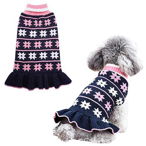 kyeese Dog Sweaters Small Turtleneck Dog Sweater Dress Knit Warm Cat Sweater with Leash Hole