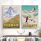 Zermatt Schweiz Matterhorn Print Vintage Ski Poster Retro