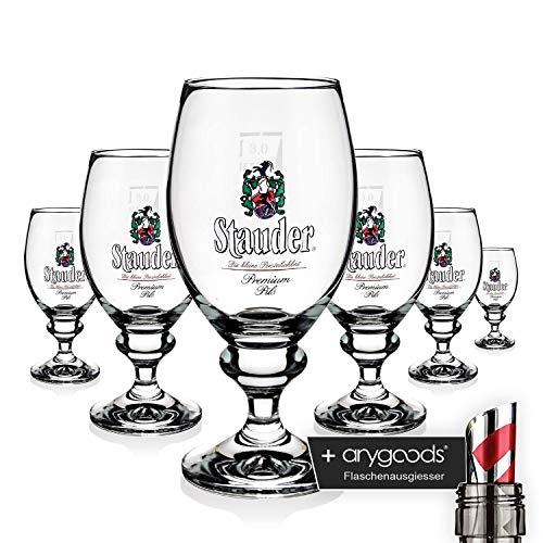 6 x Stauder Glas Gläser 0,3l Pokal Bier Brauerei Gastro Bar Deko NEU + anygoods Flaschenausgiesser