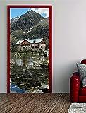 Türposter TRAUMHAUS 100x200cm Türfolie Türtapete Berge Alpen See Nr. 56