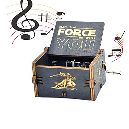 Hand-Wooden Music Box Juego Tronos Caja música Madera Tallada Antigua Cajas Musicales Caja música madera manivela mano grabada Artesanía para cumpleaños Navidad Acción gracias Boda San Valentín Negro