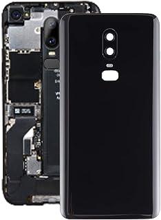 携帯電話の部品修理部品 OnePlus 6と互換性のあるカメラレンズ付きバッテリーバックカバー (Color : Black)