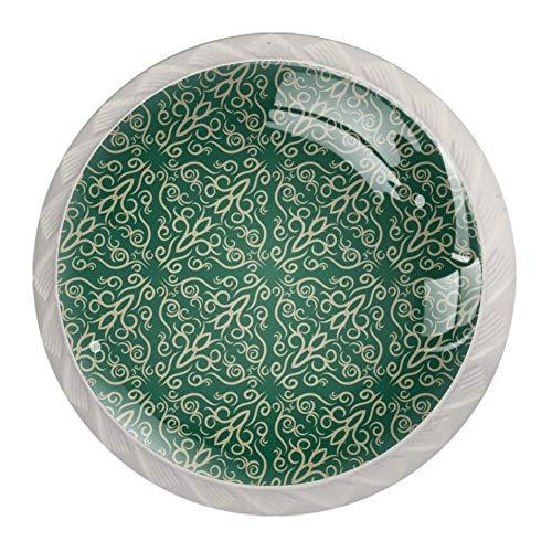 Möbelknöpfe mit grünem Tapetenmuster, rund, 4 Stück