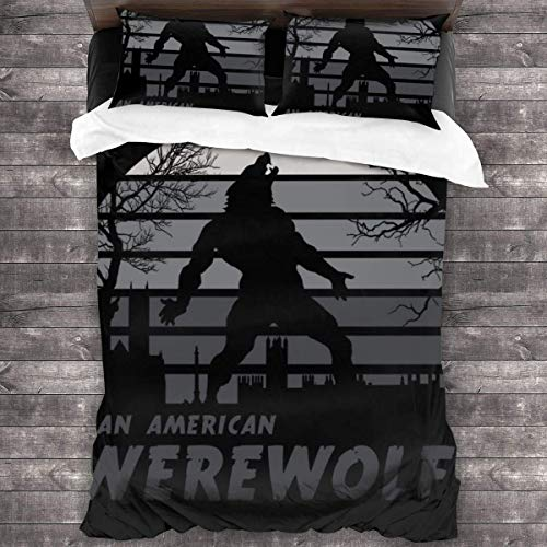 an American Werewolf in London Sunset 3 Pieces Bedding Set Duvet Cover,Decorative 3 Piece Bedding Set with 2 Pillow Shams