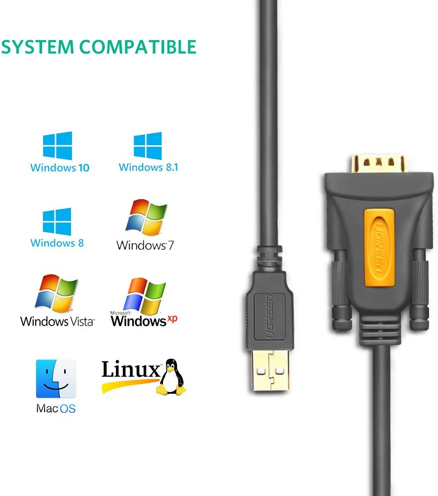 UGREEN USB to RS232 Adapter Serial Cable DB9 Male 9 Pin with PL2303 Chipset for Windows 10 8.1 8 7 XP Vista, Mac OS, Linux, 3FT
