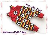 Strampler Baby Hose Junge Fußball-Deutschland erhältlich von Gr.44-98 auch mit Knopfleiste und Füßchen