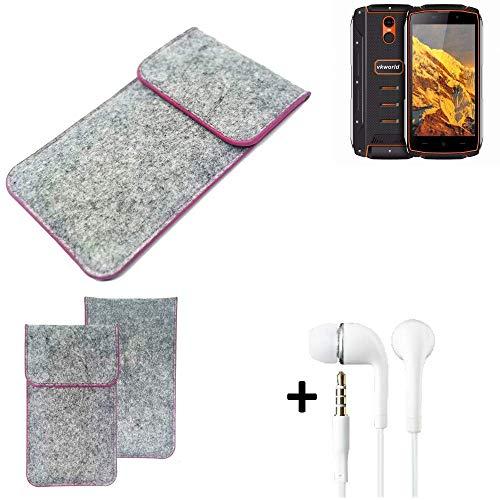 K-S-Trade® Filz Schutz Hülle Für Energizer P20 Schutzhülle Filztasche Pouch Tasche Case Sleeve Handyhülle Filzhülle Hellgrau Pinker Rand + Kopfhörer