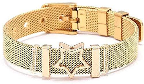 WYDSFWL Collar Mujer Elegante Malla Pulsera Fina Diamante de imitación Cinco Estrellas Acero Inoxidable a Medida Keeper Charm Pulseras Regalo Pulsera Longitud 17-22cm Collar Ajustable