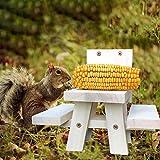 Hand-Mart Squirrel Feeder Large Picnic Table Feeder Corn Holder Chipmunk Feeder Tree Installation Cedar Wood Pine Wood Need Assemble