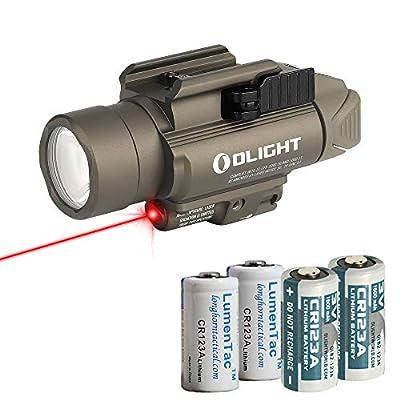 OLIGHT Baldr RL Desert Tan 1120 Lumen Pistol Flashlight and Red Laser Sight with 2X LumenTac CR123A