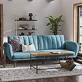 Novogratz Brittany Sofa Futon - Premium Upholstery and Wooden Legs - Light Blue