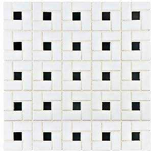 """SomerTile FKOMSP20 Retro Spiral Porcelain Floor and Wall Tile, 12.5"""" x 12.5"""", White/Black"""