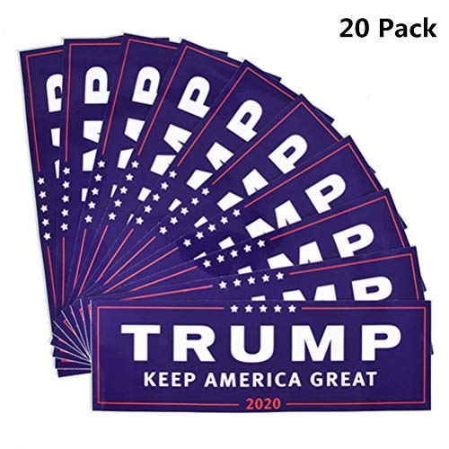 Yiphates 20Pcs Trump Car Sticker Keep America Great 2020 Election Patriotic Bumper Sticker, Blue