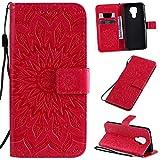 KKEIKO Hülle für Huawei Mate 30 Lite, PU Leder Brieftasche Schutzhülle Klapphülle, Sun Blumen Design Stoßfest Handyhülle für Huawei Mate 30 Lite - Rot