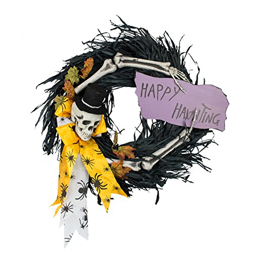 Halloween Skeleton with Black Feathers Wreath