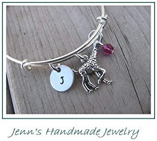 Hand-Stamped Bangle Bracelet Giraffe Charm with your choice of initial and bead