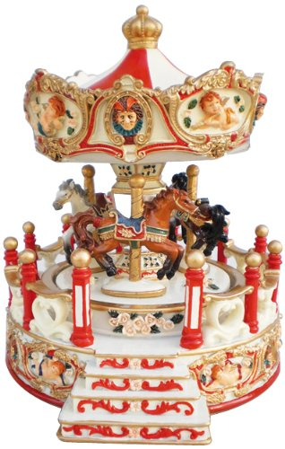 Spieluhrenwelt 14198 Karussell Engel mit Vorbau, rot