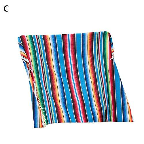 lembrd Quaste tafelkleed Mexicaanse stijl regenboog patroon katoen kleur strepen sjaal carnaval deken party bruiloftsdecoratie