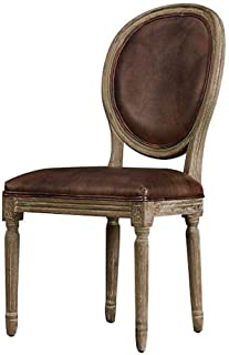 Rustic Deco Set of 2 Classic French Empire Style Leather Dining Chair - French Country