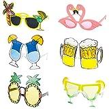 czemo 6 paia hawaiian tropicale festa occhiali tropical divertenti occhiali da sole festa hawaiian estate occhiali festa a uomo donna tropical luau festa addio al nubilato costume accessori forniture