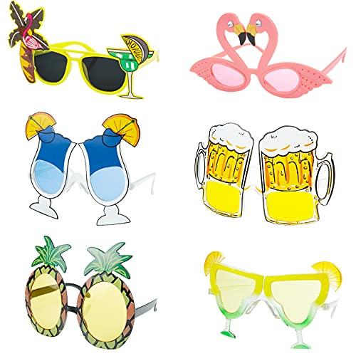 Czemo 6 Paires Hawaïennes Lunettes Nouveauté Lunettes de Soleil de Fête Lunettes de Soleil Tropicales Costume Drôle Créatif Lunettes de de Fête Plage Accessoires de Photomaton pour Enfants Adultes