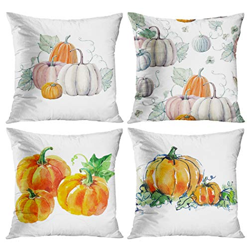 Suike Set of 4 Throw Pillow Covers 20x20 Inch Square Ripe Orange Pumpkins Green Leaves Vegetable Autumn Harvest Watercolor Halloween Painting White Home Sofa Decorative Cushion Polyester Pillowcase