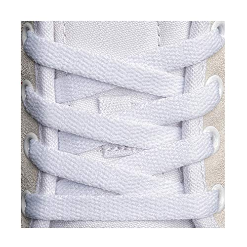 Flat Shoelaces 5/16' (4 Pair) - For sneakers and converse shoelaces replacements (40' inches (102 cm), White)