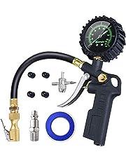 AstroAI 3-in-1 bandenpomp met grote lichtgevende wijzerplaat bandenvulmeter (manometer meetbereik 0-12bar 170 psi) bandenspanningsmeter voor auto's, vrachtwagens, caravans, bestelwagens