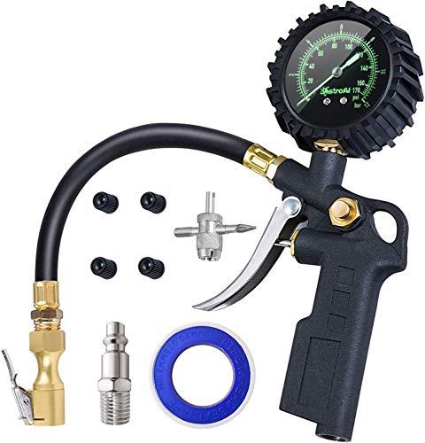 AstroAI 3-IN-1 Reifenfüller mit großem Leuchtende Zifferblatt Reifenfüll-Messgerät(Manometer-Messbereich 0-12Bar 170 PSI) Reifendruckprüfer Luftdruckprüfer für Autos LKW Wohnwagen Transporter
