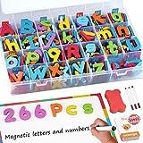 RASSE Magnetic Letters Kit, 266 Pcs A-Z Foam Magnetic Letters, Refrigerator Alphabet Magnets Letters with Double-Side Magnet Board, Educational Refrigerator Magnets for Preschool Learning Spelling