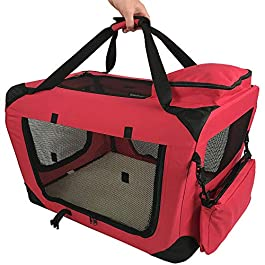 RayGar Pet Carrier Soft Crate Portable Foldable Fabric – Red