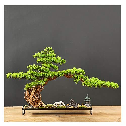 liushop Árbol Bonsai Artificial Bienvenido Pine Bonsai Plant Podocarpus Chinensis Landscape Micro-Landscape Entrada Hotel Nuevos Ornamentos, Regalos y Manualidades Decoración de Plantas Falsas