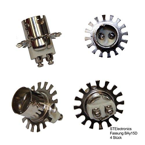 BAY15D fitting voor BAY-15D lampen 12V 24 Volt voor lamp positielamp met bajonetsluiting met sterke veer & schroefbevestiging Ø 30 mm boring voor schroef 4 fittingen BAY 15-D
