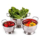 Ovente Stainless Steel Colander 3 Pieces Kitchen Set with 1.5, 3, and 5 Quarts, Multi Purpose Use...
