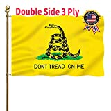 Double Sided Dont Tread On Me Flag 3x5 Outdoor 200D Polyester Gadsden Flag Vibrant Colors Durable Canvas Header with 2 Brass Grommets Tea Party Rattle Snake Banner