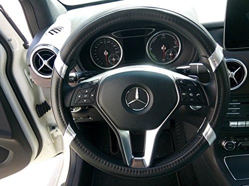 """Jdragon Black & Silver PU Leather Best Grip Slip-On Steering Wheel Cover 14.25-15"""" Diameter"""