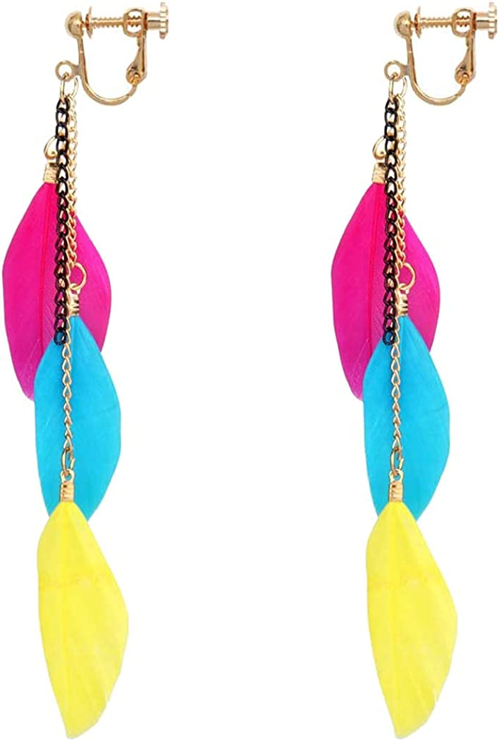 Feather Dangle Clip on Non Pierced Earrings for Women Girls Gifts Jewelry Gold Plated Multi Feathers Drop Bohemian Ethnic Style Personalized