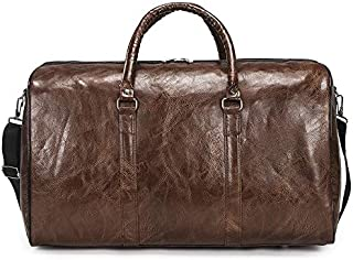 Travel Bag Waterproof Wear-Resistant Travel Bag Unisex Handbag PU Strong Portable Large-Capacity Travel Bag Sports Luggage Bag,Brown