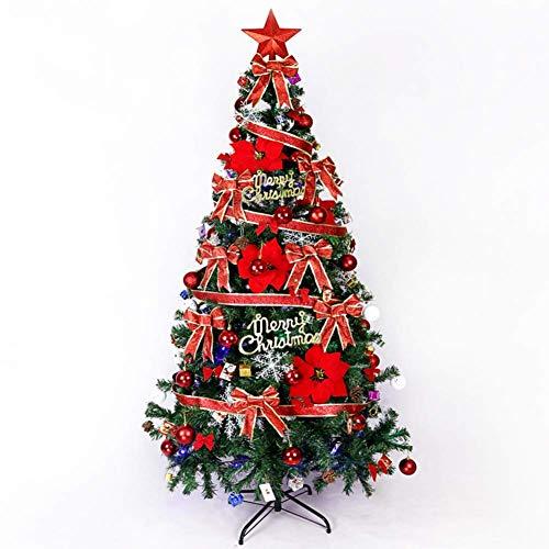 HX Easy Assembly Arbre De Noël Artificiel, 180 5,9 Ft Grand Vert Articulé en Métal Solide Jambes Arbre De Noël Luxueux avec Décoration pour L'hôtel Mall,Red