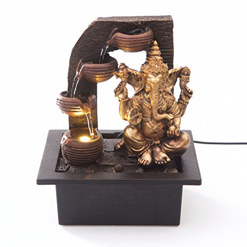 Ganesha with Water Cups Indoor Water Fountain with LED Light | Size 21 * 17.5 * 25 Cm | 3...