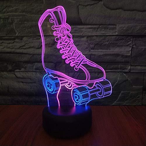 Rollschuh mehrfarbig LED Acryl 3D Nachtlicht 3D Tischlampe Acryl Lampe Dekoration Geschenk