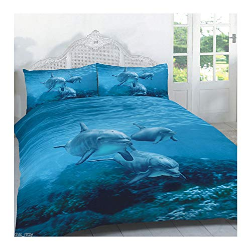 Duvet Cover Set 3D Animal Print Effect Quilt Bedding Set Poly Cotton New (Dolphin Print,Double)