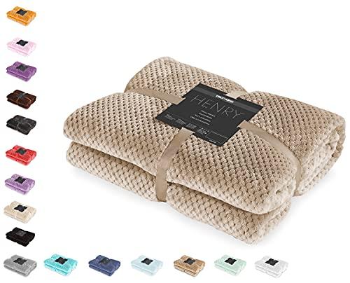 DecoKing Kuscheldecke 220x240 cm Cappuccino Decke Microfaser Wohndecke Tagesdecke Fleece weich sanft kuschelig skandinavischer Stil beige Henry