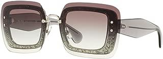 Miu Miu 01R UES0A7 Transparent Grey Glitter MU01RS Square Sunglasses Lens Categ