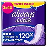Always Dailies Extra Protect Long Plus Slipeinlagen Trio Pack (120 Stück) geruchsneutralisierende Technologie mit dezentem Duft & atmungsaktives Design mit Auslaufschutz, 3 x 40 Einlagen