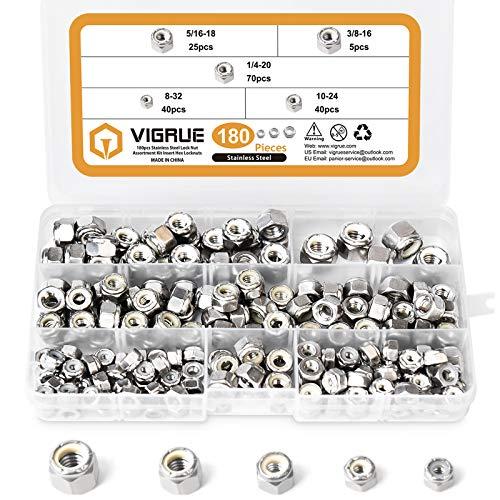 VIGRUE 180PCS 1/4-20 5/16-18 3/8-16#8-32#10-24 Lock Nuts Nylon Insert Nut Assortment Kit, 304 Stainless Steel Hex Locknuts